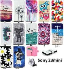 Buy Cartoon Owl Leather Cover Sony Experia Xperia Z3 Compact mini D5803 D5833 M55W Case Flip Wallet Phone Bag Protector Coque for $4.52 in AliExpress store