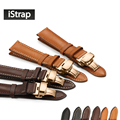 Genuine Leather watch band first layer of watch strap with rose gold butterfly buckle for Tissot