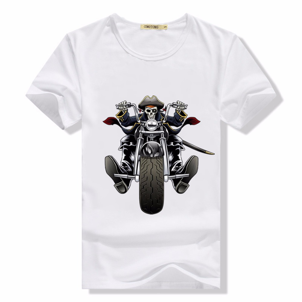 t shirt skull men tshirt motorcycle slim fit short sleeve. Black Bedroom Furniture Sets. Home Design Ideas