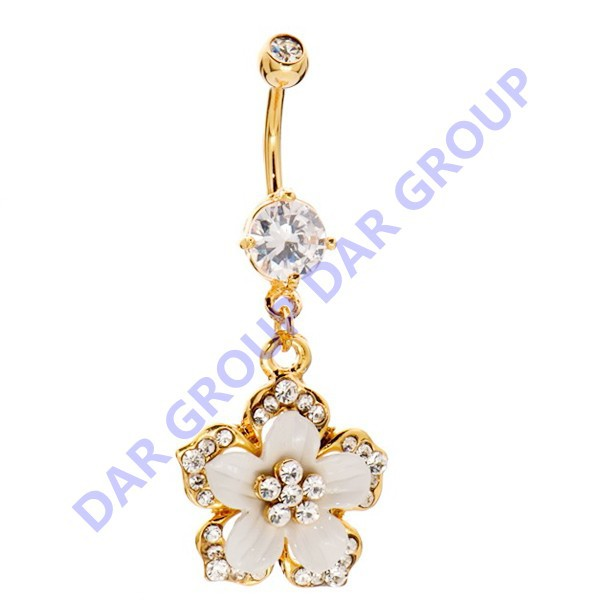 DAR 2 Pieces Fashion Flower Type Stainless Steel Button Belly Rings & Navel Piercing Jewelry(China (Mainland))