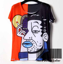 Track Ship+New Vintage Retro Cool Rock&Roll Punk T-shirt Top Tee Famous Abstract Smoke Person Face Smoking Painting 0279(Hong Kong)