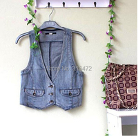 2015 women's Spring short denim jacket vest Women sleeveless casual colete feminino cardigans waistcoat veste femme jacket