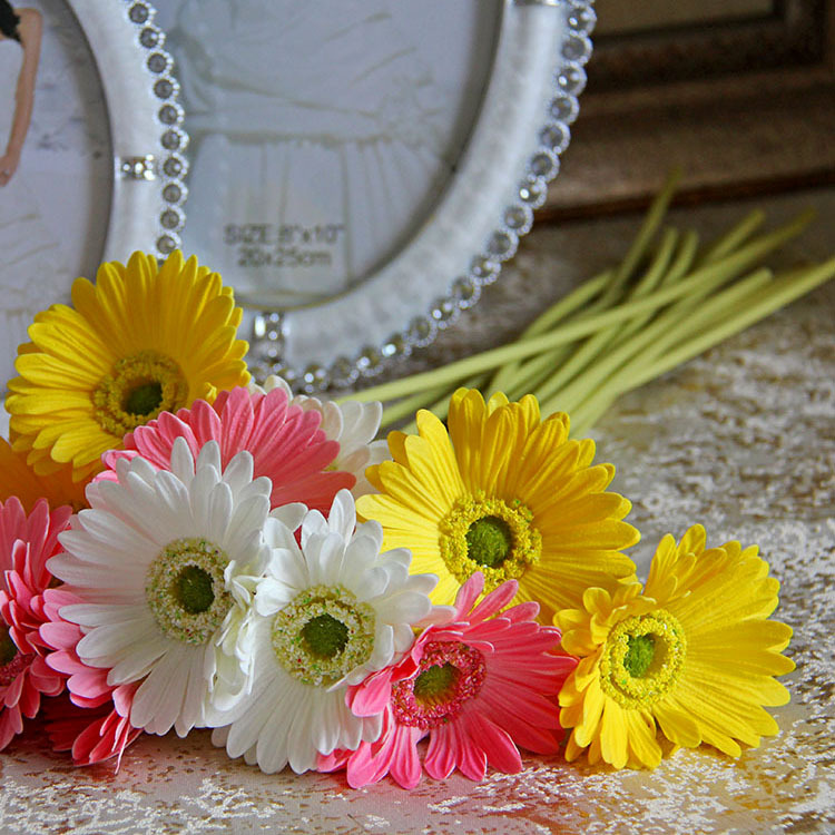 """18""""REAL TOUCH FLOWERS white /pink / yellow/ orange Gerbera Daisy stems for wedding bouquets/ wedding decoration/centerpieces,PU(China (Mainland))"""
