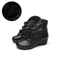 Ylqp 2019 Vintage Martin Çizmeler Hakiki Deri Çizmeler Kadınlar için Halk Tarzı Anne Çizmeler El Yapımı Kış sıcak ayakkabı(China)