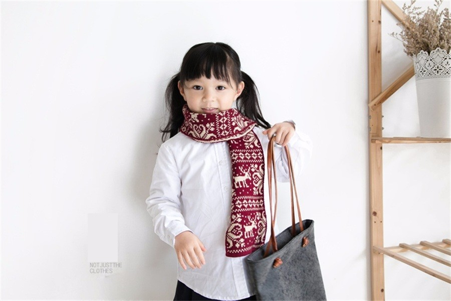 2016 Winter brand red ladies tippet women kids girls scarf mother and daughter wraps family matching look Christmas deer Scarves