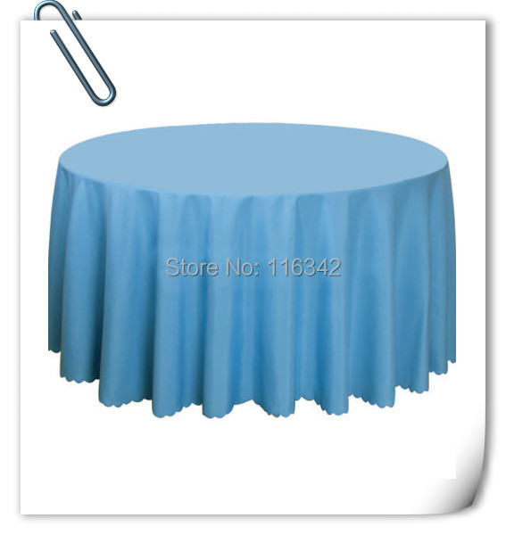"Retail Wholesale blue polyester 120"" Round Tablecloth Wedding Party Banquet Table Decorations Table Cloths Free Shipping(China (Mainland))"