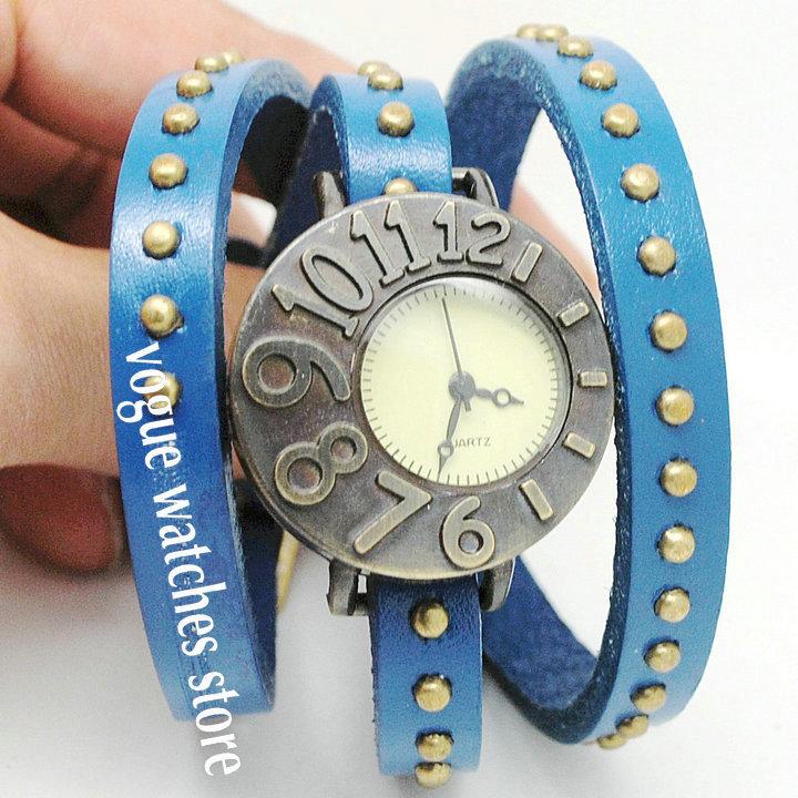 2013 new style Women ladies quartz wrist watch bronze vintage wristwatches genuine cow leather band 6colours Free ship(China (Mainland))
