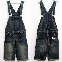 Denim Overalls Men 2015 New Fashion Mens Bib Denim Shorts Bib Jeans