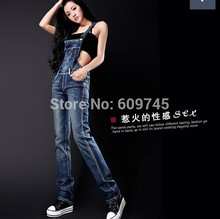 Spring summer autumn winter women jeans overalls suspenders trousers spaghetti strap denim pants frock jumpsuit blue calca jeans(China (Mainland))