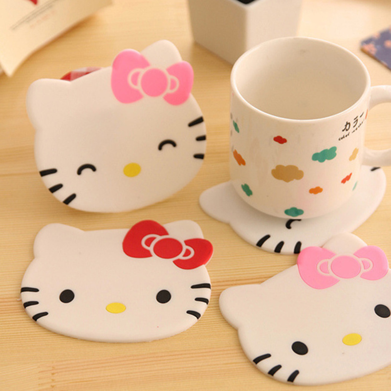 12 pcs/Lot Cute kitty cup mat Silicone coaster placemats for Table decoration Stationery Office supplies School material 5209(China (Mainland))