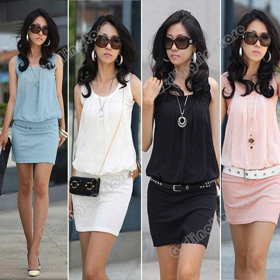 Plus Size Fashion Women Summer Dress Casual Crew Neck Sleeveless Chiffon Sundress Novelty Mini Party Dresses Free Shipping 0371