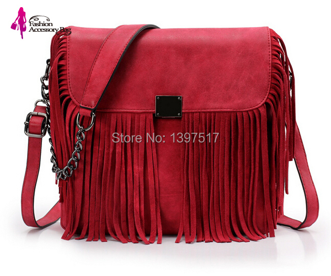 New Design Genuine Leather Fringe Shoulder Bags for Women Small Vintage Black Handbag Lady Chain Messenger Tote Bag Bolsos Mujer(China (Mainland))
