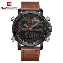 Montres pour hommes à la marque de luxe hommes montres de sport en cuir NAVIFORCE hommes LED à Quartz horloge numérique étanche montre-bracelet militaire(China)