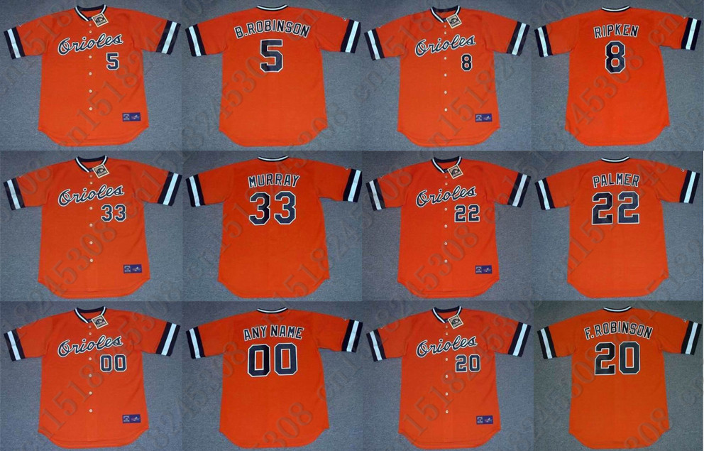 EDDIE MURRAY CAL RIPKEN Baseball jersey JIM PALMER BROOKS ROBINSON FRANK ROBINSON jersey Throwback Orange Mens Stitched jerseys(China (Mainland))