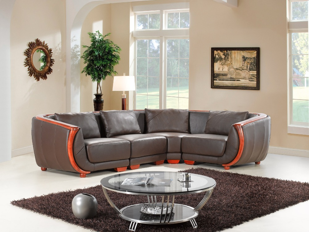 Cow genuine leather sofa set living room furniture couch for Living homes sofas
