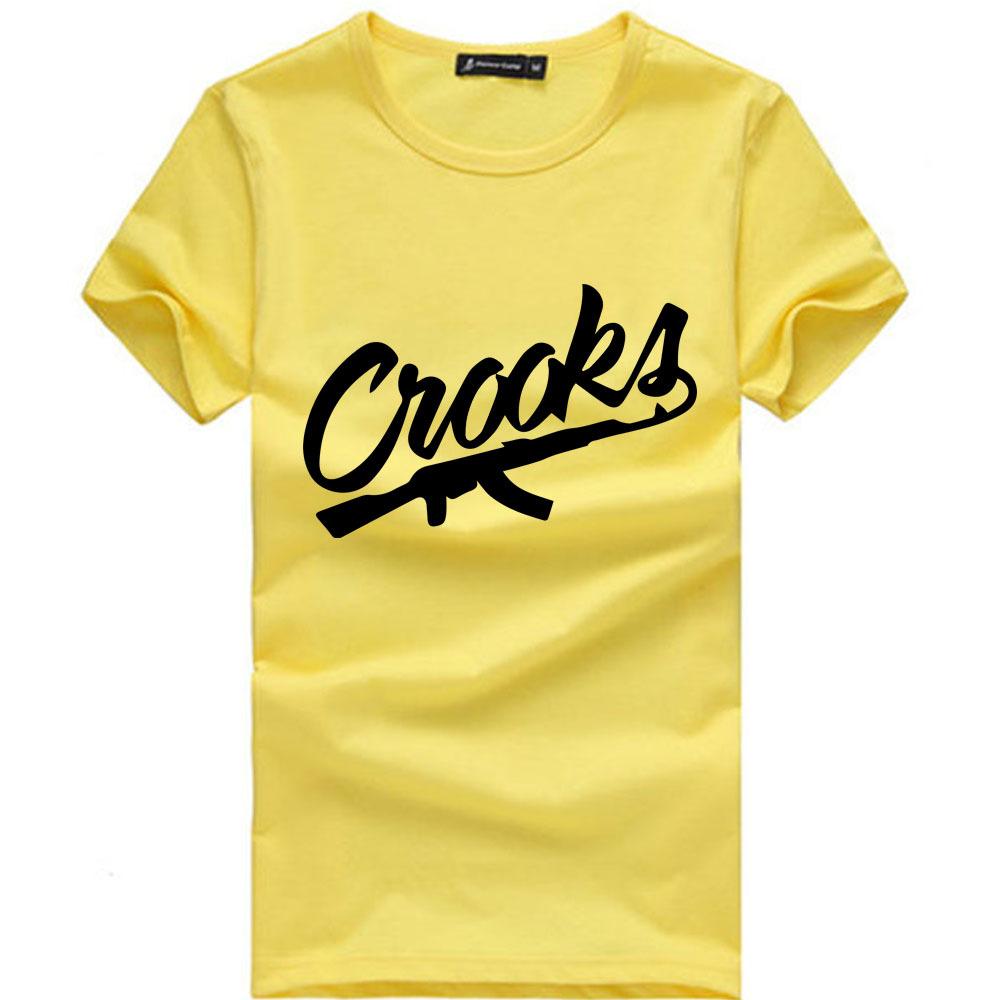 Euro Size Crooks And Castles T Shirts Men Short Sleeve Cotton Man T Shirt CROOKS Letter
