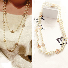 Buy New Fashion Pearls Rhinestone Four Leaf Clovers Double Chain Necklace Women Long Sweater Chain ) for $6.39 in AliExpress store