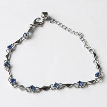 Top Quality Purple Amethyst Wrist Charm Bracelet Cubic Zirconia Jewelry Bracelets For Women Gift 9 Colors(China (Mainland))