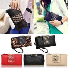 Women Rivet Zipper Wallet Holder Card Coin Clutch Purse Wristlet Evening Bag