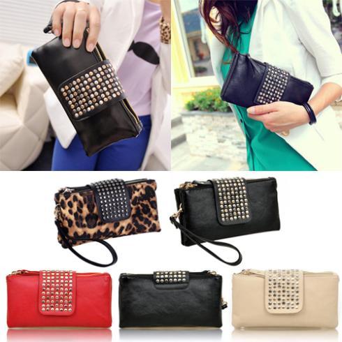 Women Rivet Zipper Wallet Holder Card Coin Clutch Purse Wristlet Evening Bag 1QV2(China (Mainland))