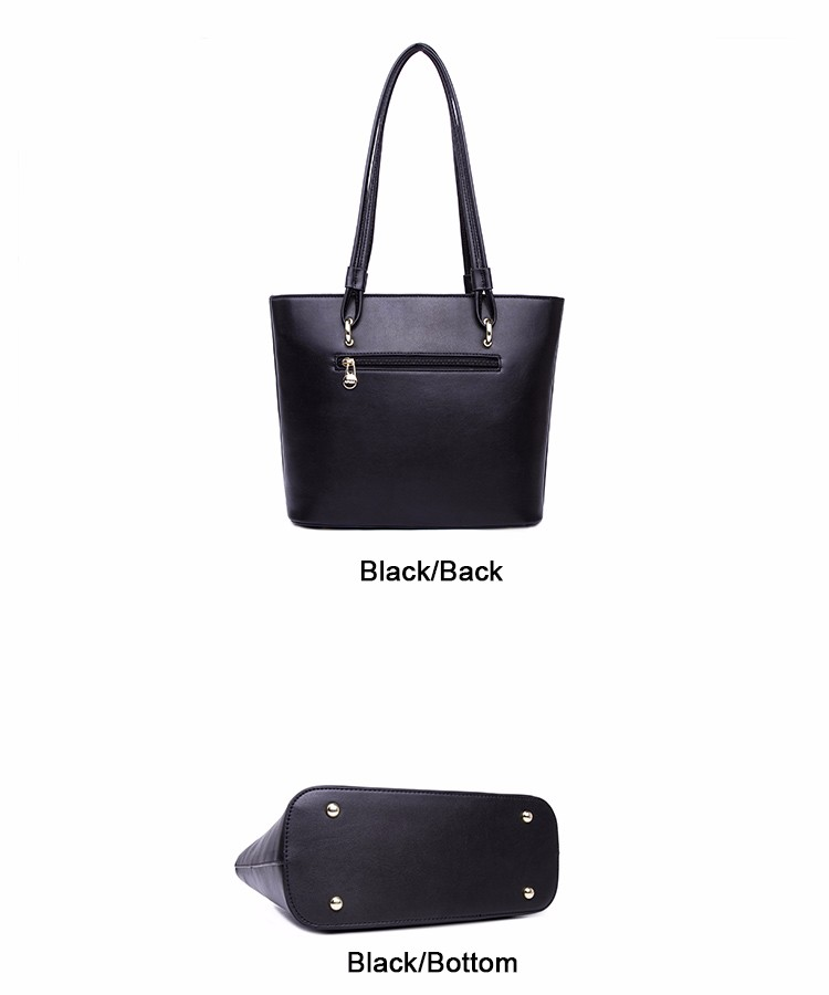 Large Capacity Tote Bag Ladies Simple Casual Hand Bag Japan & Korean Style Durable Shoulder Bag Lady Black Burgundy PU Bag