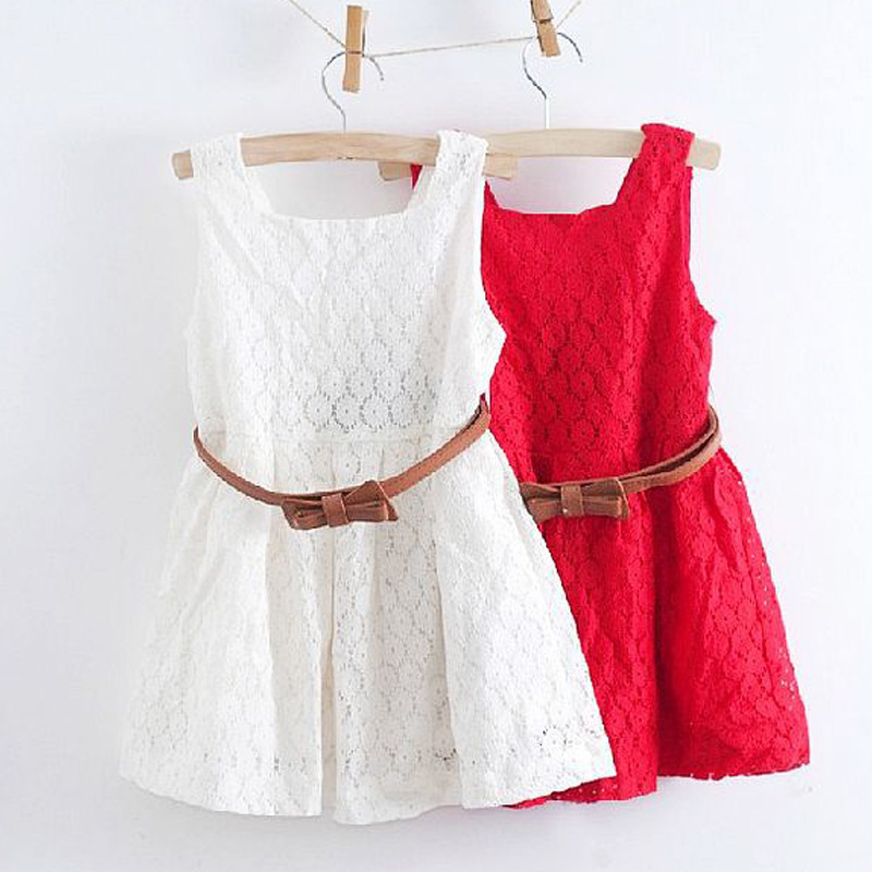 2016 Summer Lace Vest Girls Dress Baby Girl Princess Dress 2-8 Years Children Clothes Kids Party Clothing For Girls Free Belt(China (Mainland))