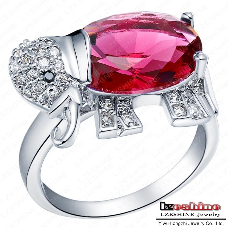 Cute Animal Ring Fancy Real Platinum Plated Elephant Rings Inlay Imitation Ruby Diamond WX RI0129
