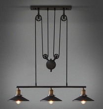 Loft Vintage Retro Wrought Iron Black Chandelier Adjustable Pulley Industrial Lamps E27 Edison Pendant Lamp Home Light Fixtures(China (Mainland))