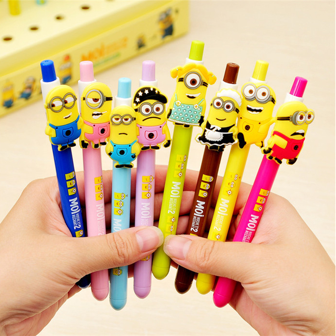 New 8 Cute Despicable Me 2 Minions Figures Inks Ballpoint Pen Kids Children Student Stationery Gifts