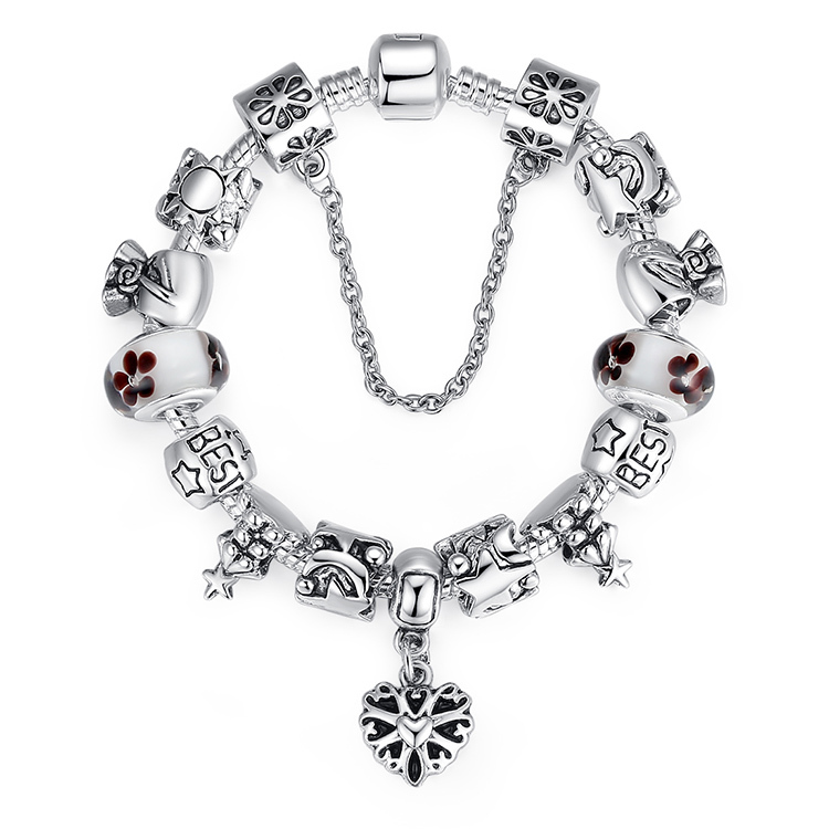 Luxury Silver Charm Fit Pandora Bracelet with Heart Pendant for Women With High Quality Murano Glass Beads PA1801(China (Mainland))