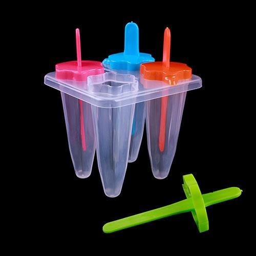 Ice Cream Maker Cone Shape Ice Pop Popsicle Mold Frozen Food DIY Set Tool 4Pcs #40703(China (Mainland))