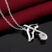 2015 newest fashion popular necklace inlaid stones crystal shiny jewlery 925 silver necklace high quality hot