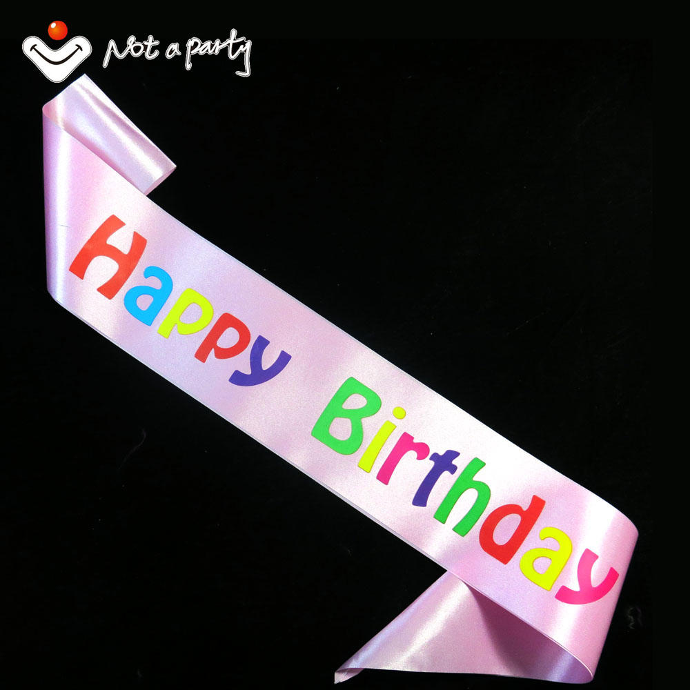 Lovely pink happy Birthday souvenirs party Sash colorful printing 20designs for chose event party supplies fun birthday(China (Mainland))