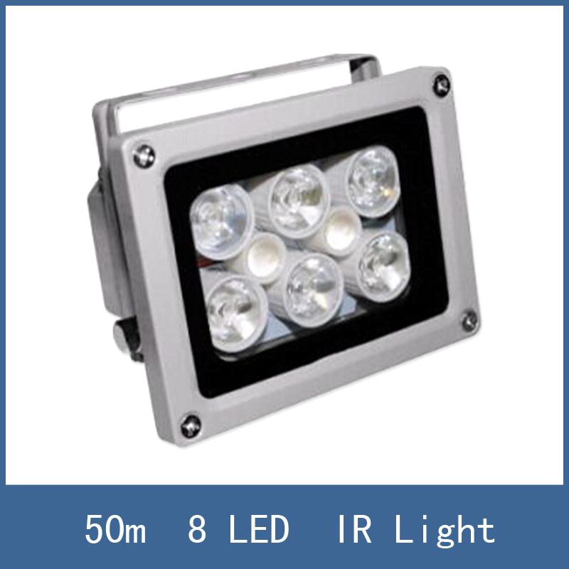 High Lighting Waterproof 50m DC 12V 2A illuminator Fill Assist Night Vision infrared 8 LED IR Lights for CCTV Security Camera(China (Mainland))