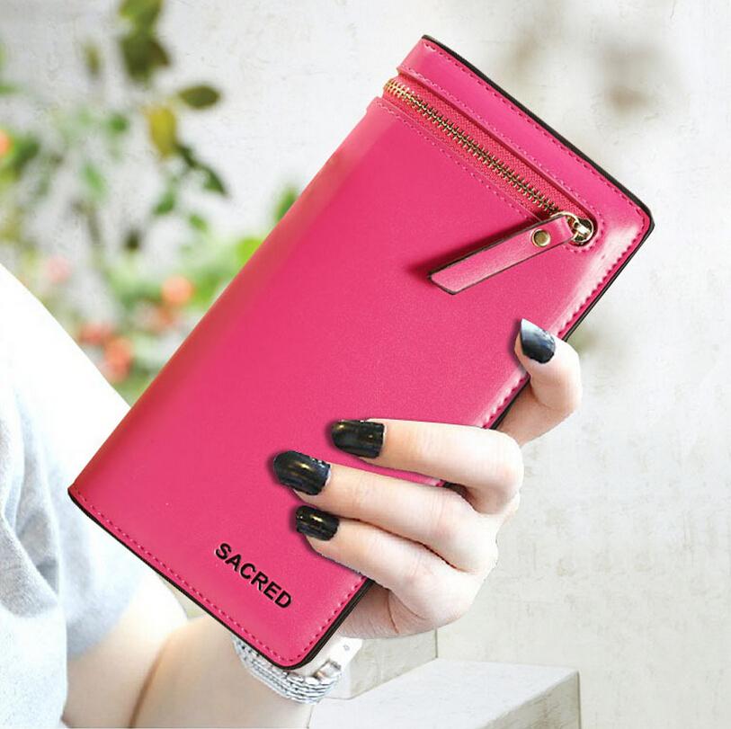 Women Fashion Handbag New Ladies Leather Large Bifold Wallet Card Cash Receipt Holder Organizer High Quality Purse Free Shipping(China (Mainland))