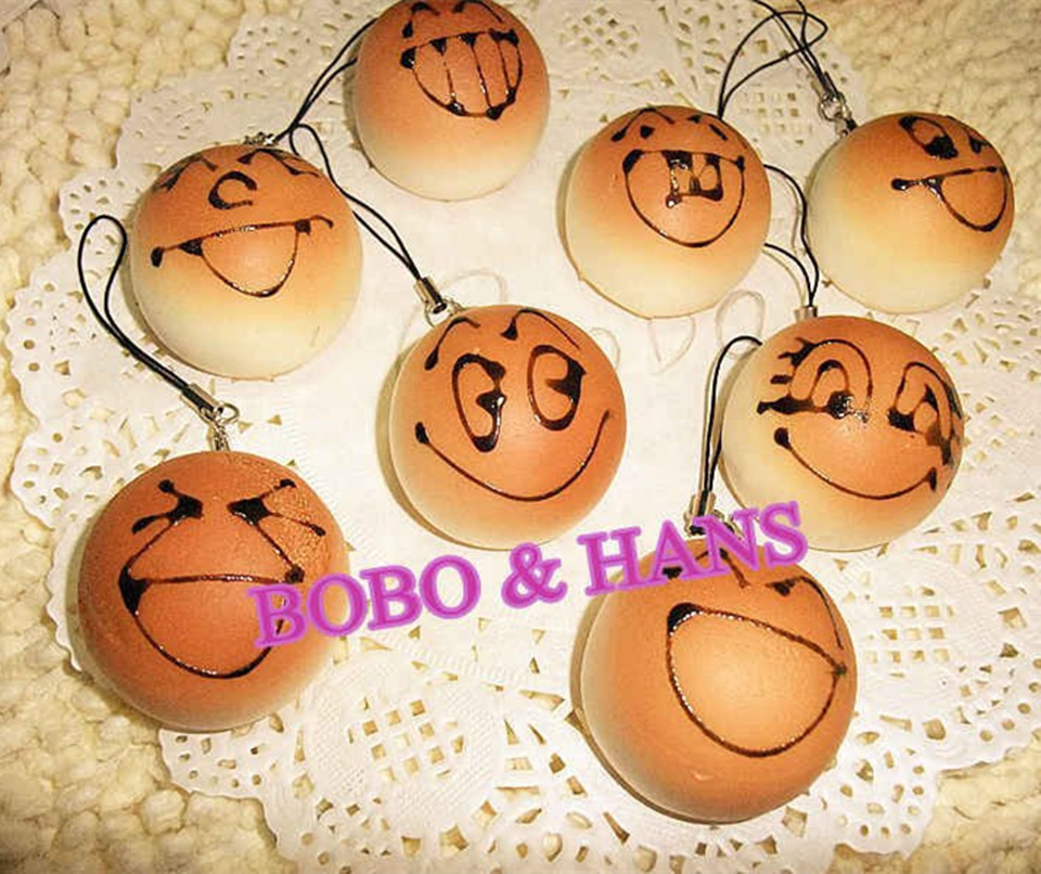New Cute face bread squishy charm (S) / PU mobile phone strap / Retail(China (Mainland))