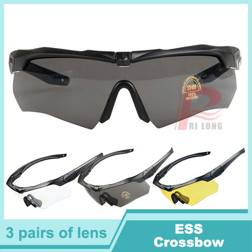 3 Lens ESS Crossbow Tactical Goggles, Army Sunglasses Eyewear Bicycle Glasses with Original Retail Box HT12-0005(China (Mainland))
