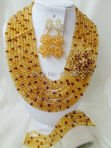 Fabulous Champagne Gold mixed Brown Coffee Crystal Nigerian African Wedding Beads Jewelry Set CPS5401<br><br>Aliexpress