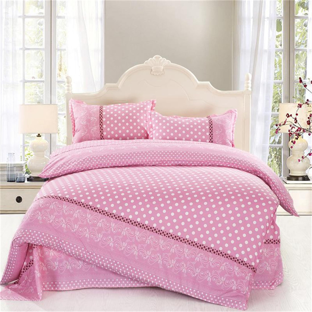 4pcs Twin Full Size White Polka Dot Comforter Sets Pink Bedding Girls Comforter Sets Damask