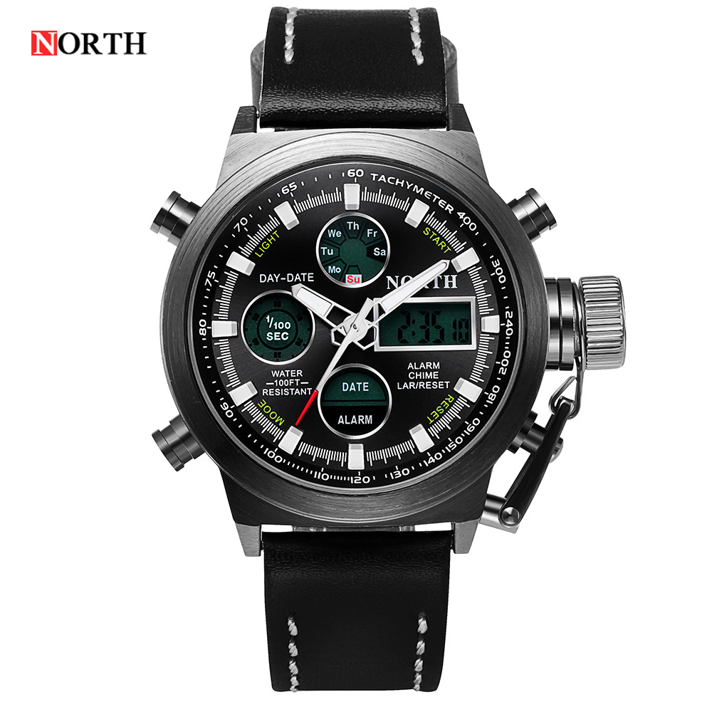 2016 Original BRAND Watch men Leather Digital-watch Sports Wristwatch LED Digital Analog Quartz-Watch Military Wrist Watches(China (Mainland))