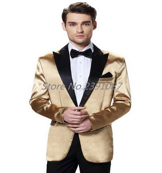 2017 Custom Made Men\`s Three- Piece Satin Silky Soft Party Wedding Suit & Pants_