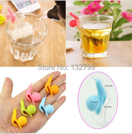 10pcs Cute Snail Shape Silicone Tea Bag Holder Cup Mug Tea Infusers Strainer Clips Party Decor()