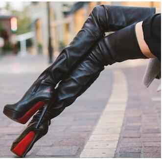 thigh high black leather boots high heels platform shoes