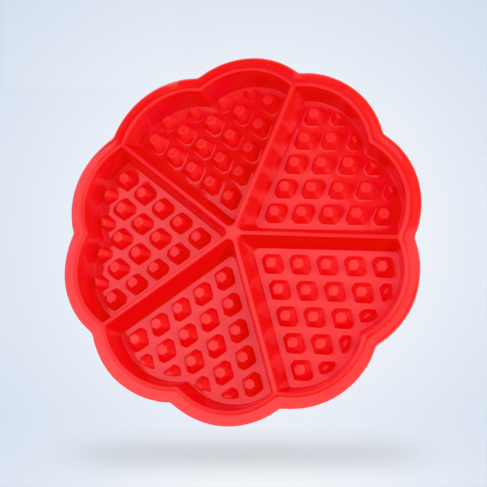 Baking Mold Heart-shaped Waffles Mold For Oven Circular Muffins Mold Silicone Cake Mould With 5 Cubes Cake Pan(China (Mainland))