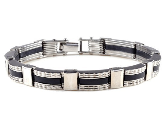 New-Men-s-High-Quality-Stainless-Steel-Bracelet-Silver-Link-Black-Rubber-Bangle (6)