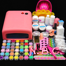 36w uv pink lamp Timer manicure set Nail Art UV Gel Kits sets Tools Brush Tips Glue Acrylic Powder Liquid nail Art Set(China (Mainland))