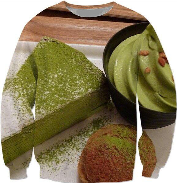 Men Clothing Sweats Green Tea Sweatshirt pastry Print Jumper Jersey Outerwear Women Hoodies Long Sleeve Tops Streetwear(China (Mainland))