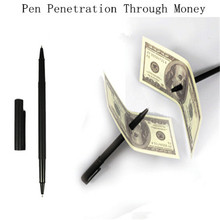 New Practical Fancy Magic Trick Pen Penetration Through Money Note Trick Great 1pc free shipping(China (Mainland))
