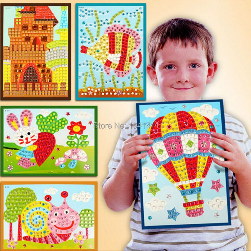 10pcs/lot 23*17CM Kids DIY handmade Crystal Mosaic Art Sticker Educational Toys for Children Christmas New Year Gift for Kids(China (Mainland))