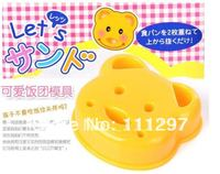 Wholesale 100pcs / lot plastic bread toast cutter sandwich cutter picnic lunch mold maker in bear design Free shipping